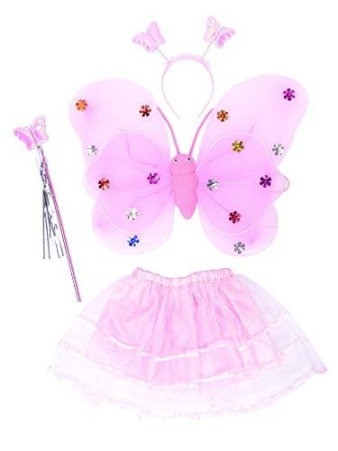 THEE Costume da Elfa o Principessina in 4 Pezzi a Forma di Ali di Farfalla con Luci LED e Bacchetta Magica Costume per Bambine in Occasione di Feste Carnevale Halloween (Rosa)