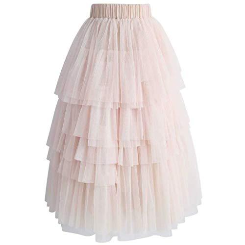 Julhold - Falda de tul para mujer, con tobillo, cintura elstica Rosa. L