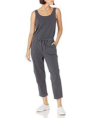 Amazon Brand - Daily Ritual Women's Stretch Cotton Knit Twill Drawstring Waist Sleeveless Jumpsuit, Asphalt, Small