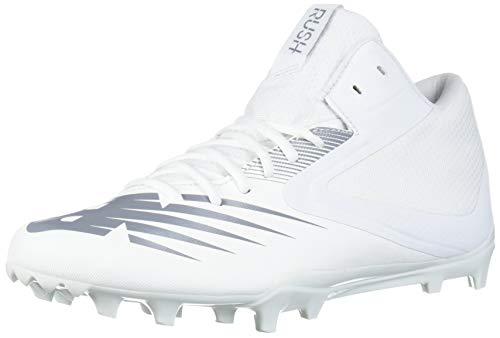 New Balance Men's Rush V2 Lacrosse Shoe, White/Gunmetal, 10 M US