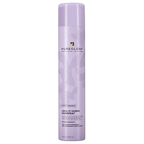 Pureology Style + Protect Lock It Down Hairspray for Color-Treated Hair, Maximum Hold, 11 Ounce