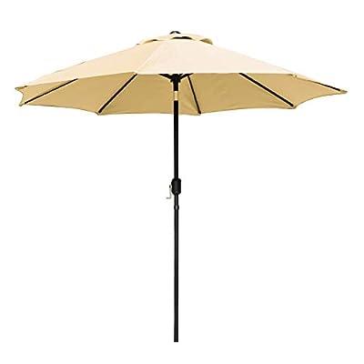 Artpuch 9ft Patio Umbrella Outdoor Table Market Umbrella with Push Button Tilt and Crank, 8 Ribs (Tan)