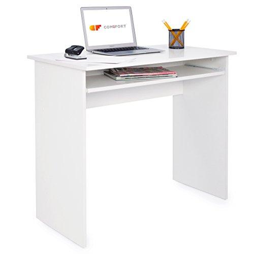 COMIFORT Mesa de Ordenador con Bandeja Extraible - Escritorio Robusto de Estilo Moderno y Minimalista, para Despacho o Sala de Estudio, Color Blanco