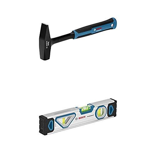 Bosch Professional Schlosserhammer 500 g (DIN 1041 geprüft, Hammer und Schaft aus einem Guss) + Wasserwaage 25 cm mit Magnet System (rundum ablesbar, Aluminium-Gehäuse)