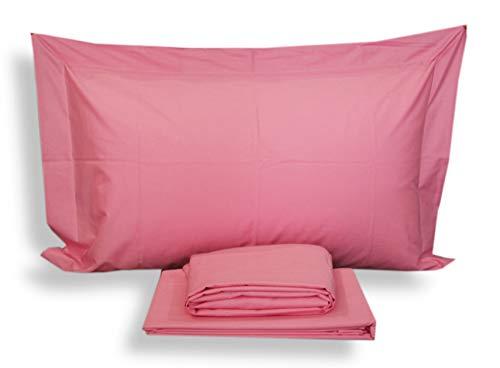 Juego de sábanas para cama individual de 1 plaza, maxi, 100% algodón Mirabello, funda de almohada + sábana encimera + sábana bajera (Fucsia R09)