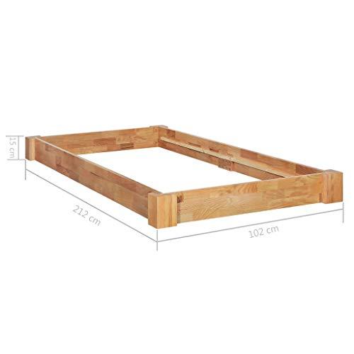 Lasamot Estructura de Cama de Dormitorio con Estructura de Roble de Madera Maciza, Estructura de Cama de Roble de Estilo Moderno y práctico para la Familia 102 x 212 x 15 cm (Largo x Ancho x Alto)