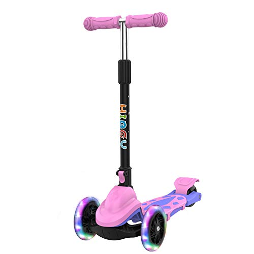 Hiboy Q1 Scooter for Kids - 4 Adjustable Heights, 3 Wheels with 2 LED Light-Up Front Wheels, Foldable Toddler Scooter for Boys and Girls from 2-6 Years Old (Pink)