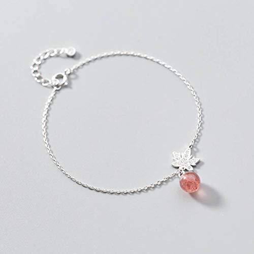 TYERY Pulsera de Plata S925, Moda Femenina con Pulsera de Hojas de Diamantes, Joyería de Mano de Cristal de Fresa de TemperamentoPulsera, Plata 925