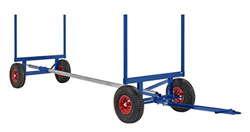 Schwerlast-Transportwagen luftbereift, 3500 kg Tragkraft, 450 bis 600 cm Wagenlänge, Bollerwagen aus Stahl für den Transport von Langmaterial wie Rohre (langgut), Deichsel-wagen, Hand-wagen