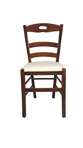 Sedia Loire, in Legno Massello, Varie Sedute e Colori, Imbottita, Alta qualità, Ordine Minimo 2 Pezzi (Noce Chiaro, Imbottita Beige)