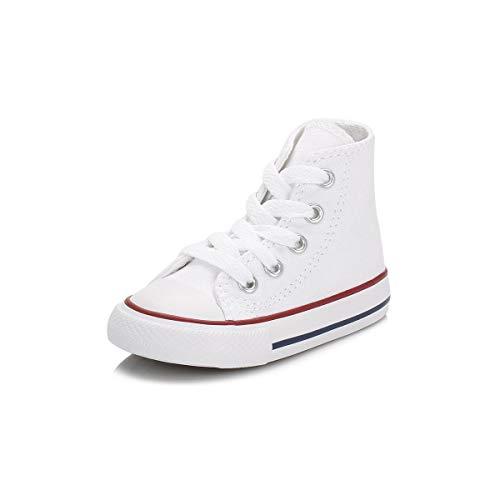 Converse - Zapatillas de tela para niños, Blanco, EU 25