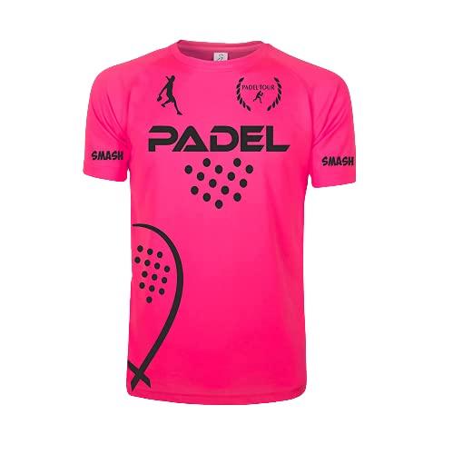 ZENA T-Shirt Tecnica Padel/Padel Dry Fit Maglia Tennis Champion Gara Mania Smash Maglietta. (Rosa/Nero, M)