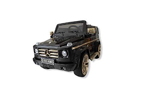 Babycar Mercedes G55 Negro Oro Coche Eléctrico para Niños Oficial con Licencia 12V Batería con Mando a Distancia 2.4GHz Puertas Abatibles con Ruedas de Goma