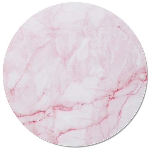 Mauspad Marmor-Look I Ø 22 cm I Mousepad in Standard-Größe, rutschfest I schlicht modern I Stein-Optik Granit rosa weiß I dv_671