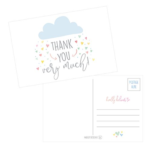 50 4x6 Rain Clouds Blank Thank You Postcards Bulk, Cute Modern Baby Shower Sprinkle Rainbow Showered With Love Thank You Note Card Stationery For Wedding Bridesmaid Bridal, Religious, Holiday