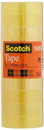 Scotch Nastro Adesivo 3M, Trasparente Acrilico, 15 mm x 33 m, Confezione Torretta da 10 Pezzi