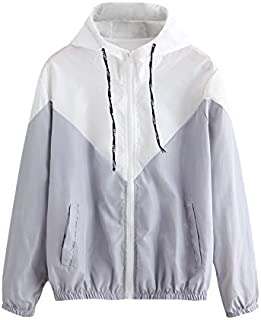 Milumia Women's Color Block Drawstring Hooded Zip Up Sports Jacket Windproof Windbreaker