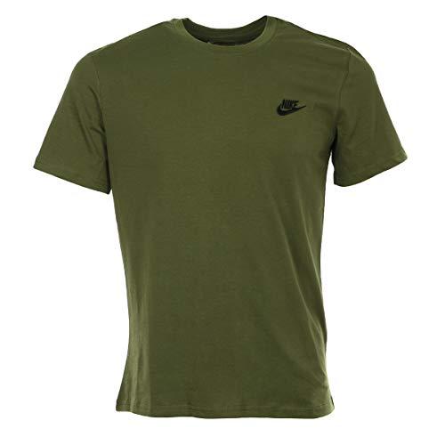 NIKE Camiseta para Hombre Club Embroidered Futura, Hombre, Camiseta, 827021, Color Verde Oliva/Negro, Medium