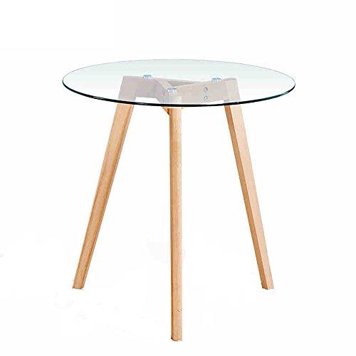 Desk Xiaolin Nordic Solid Wood Round Table Gehärtetem Glas Konferenztisch Beistelltisch (größe : 70cm)