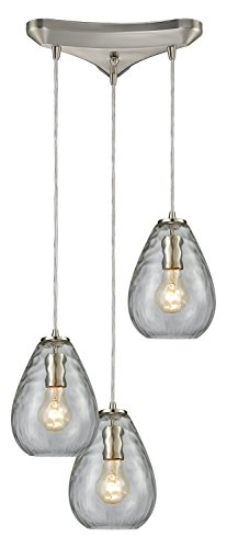 Lagoon 3-Light Triangle Pan in Satin Nickel with Clear Water Glass Pendant