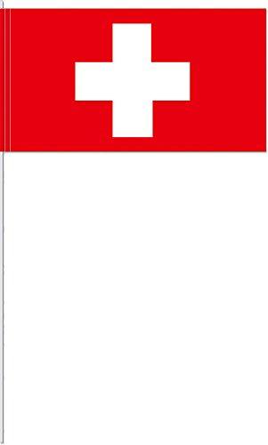 DH-Konzept 10 Fähnchen * Schweiz * als Deko für Mottoparty oder Länder-Party // Switzerland Swiss Flaggen Fahnen Papierfahnen Flag