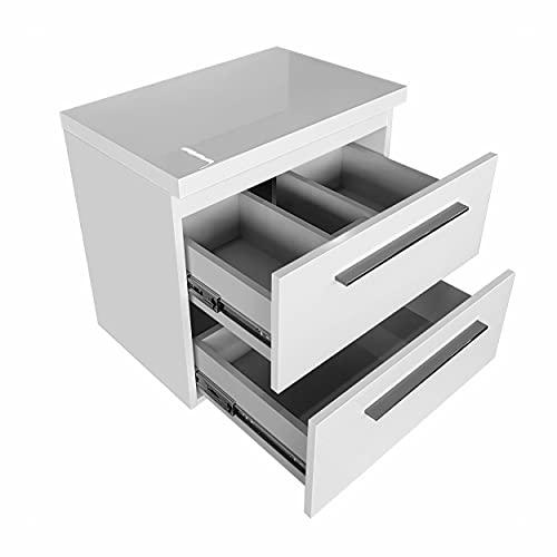 Mueble para debajo del lavabo de 50 cm, 60 cm, 80 cm de ancho, armario inferior con placa para lavabo, juego de muebles de baño (blanco, 50 cm)