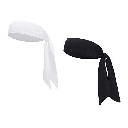 Sports Headband - Head Tie Tennis Tie Hairband - Sweatbands Headbands Wristbands Head Wrap - Ideal for Working Out,Tennis (2pcs-Black+White)