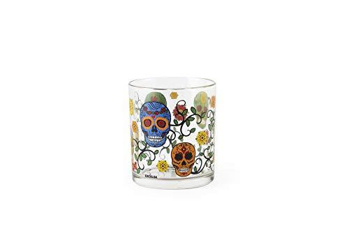 Excelsa Calavera - Juego de 3 vasos de agua, vidrio prensado