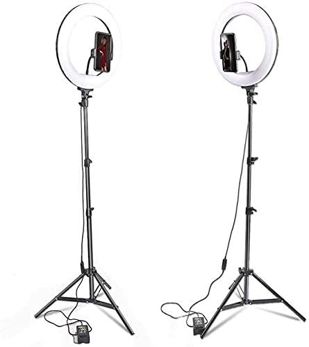 YQLWX Muqingyun Lampada ad Anello LED LED Light 3 modalità Luminose Fill Light with Treppiede Stand Dimmable Selfie Selfie Light for Telefono per Il Trucco Live (Colore : Nero, Taglia : One Size)
