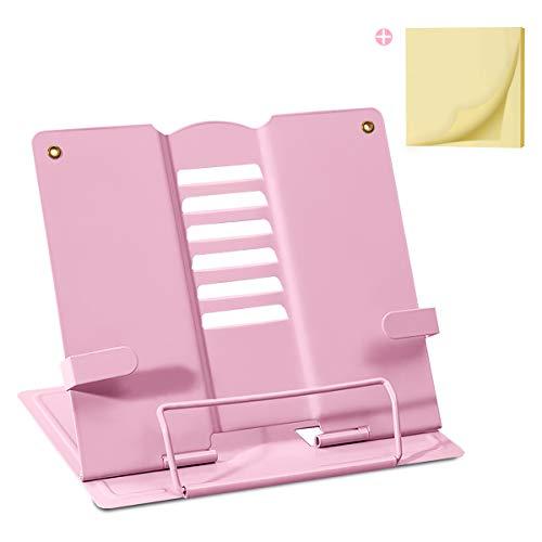 Palumma ブック スタンド 書見台 ブック スタンド 卓上 読書 スタンド 鉄製 より耐久性 広げて厚く 折畳み 肩こり解消 目の保護 ポストイット付き(ピンク)