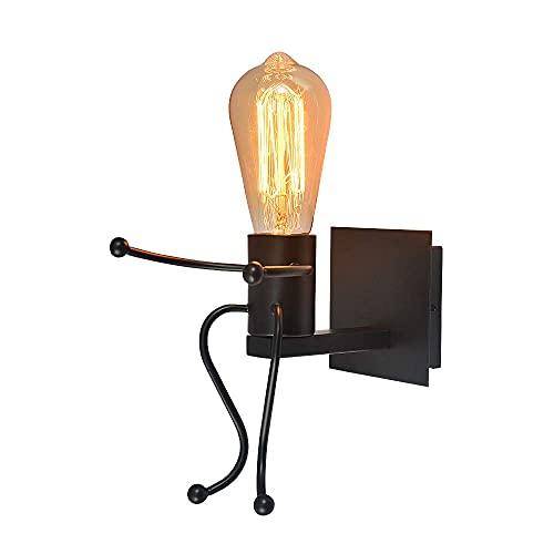 Humanoide LED Aplique de Pared Moderna, Robot Luz de Pared de Hierro,...