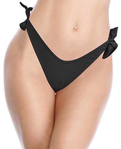 SHEKINI Damen Sexy Brasil Tanga Bikini Hose Low Waist Leopard Strand Hose High Cut Schwarz Thong(Schwarz D,M)