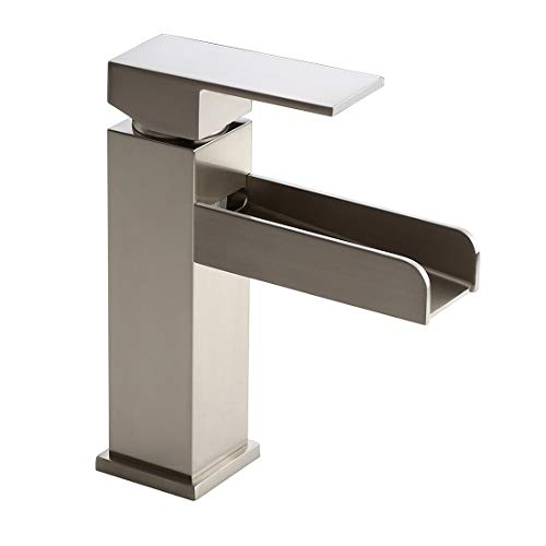 Homary Contemporary Waterfall Sink Faucet for Bathroom Vanity Solid Brass Lead Free Brushed Nickel Finish Single Lever Handle Rectangular Bathroom Sink Faucet with Pop Up Drain, cUPC Listed