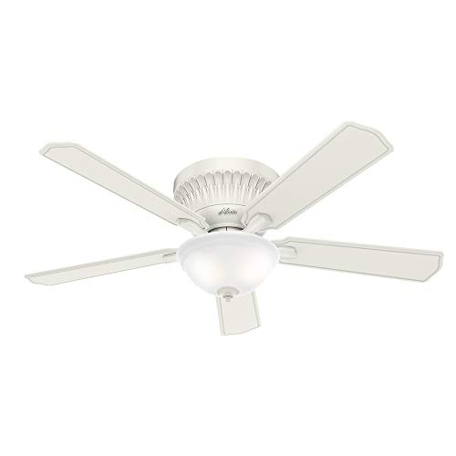 """Hunter Chauncey Indoor Low Profile Ceiling Fan with LED Light and Remote Control, 54"""", Fresh White"""