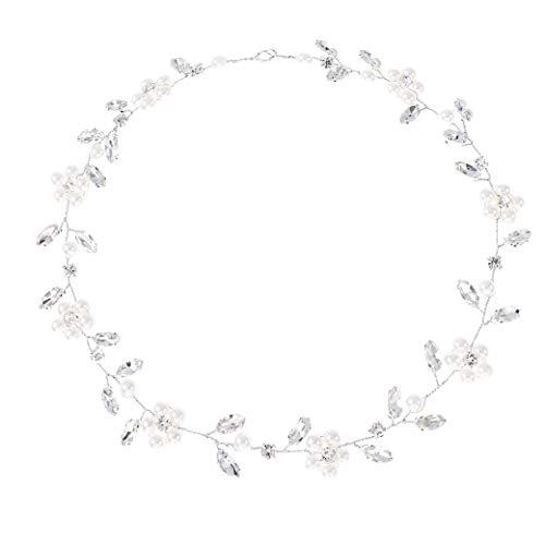 IYOU nupcial boda pelo vid perla flor tocados hoja diamantes de imitación...