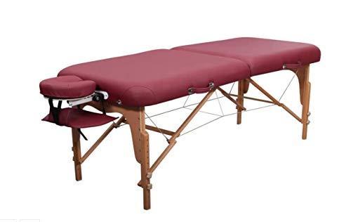 Zen Round Corner - Camilla de masaje plegable ajustable en altura - Camilla de masaje móvil de madera maciza con bordes redondeados para estilos, burdeos ✅