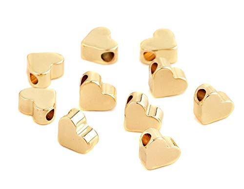 Sadingo Herzperlen, Metallperlen Gold vergoldet, Zwischenperlen für Armbänder, DIY Modeschmuck - 50 Stück - 7 x 6 mm