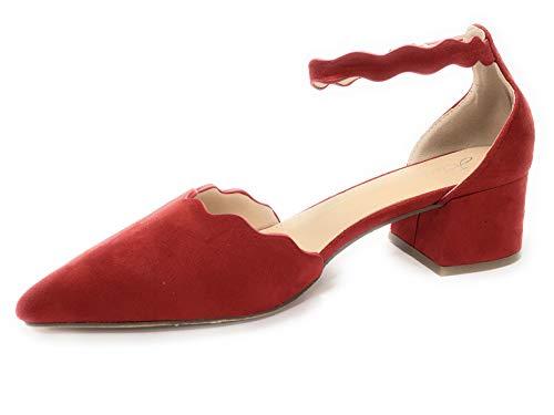 BUONAROTTI Zapato Salon Mujer Corte Ondulado TOBILL - 1292800936040 Color Rojo Talla...
