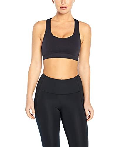 Jessica Simpson Sportswear Women's Standard Toni Seamless Low Impact Sports Bra, Black, Large