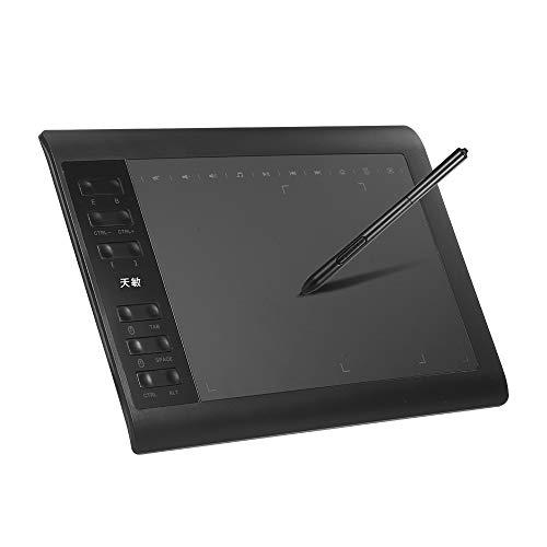 Fesjoy Tableta gráfica 1060 Plus de 10 x 16 pulgadas, área de pintura exclusiva de teléfono con 8192 niveles de lápiz pasivo 5080 LPI