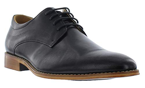 Giorgio Brutini Coolidge Black & Brown Oxford Dress Shoes for Men, Plain Toe Leather Shoe, Black, 9 M US