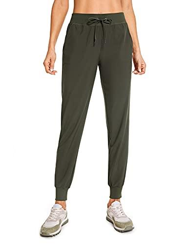 CRZ YOGA Women's Lightweight Joggers Pants with Pockets Drawstring Workout Running Pants with Elastic Waist Dark Olive Medium