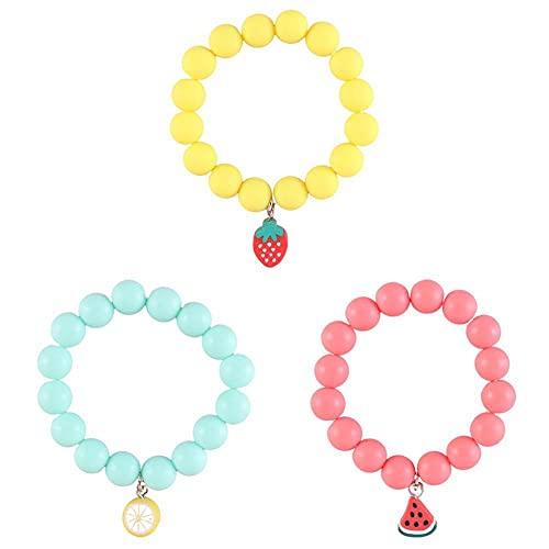 Lbaby 3Pcs Girls Party Bracelets Frosted Beaded Pendant Bracelets Elastic Fruit Bracelet Kids Jewellery for Birthday Party Favors