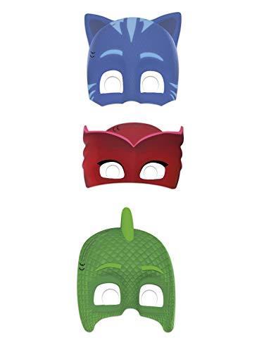 COOLMP 6 Masques en Carton Pyjamasques - Taille Unique - Masque de fête, Accessoire de déguisement et Costume, Carnaval, Anniversaire, thème, Loup, Cagoule