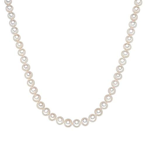 Valero Pearls Damen-Kette mit Süßwasser-Zuchtperlen in ca. 10 mm Rund weiß 925 Sterling Silber 52 cm - Perlenkette Halskette mit echten Perlen 340315