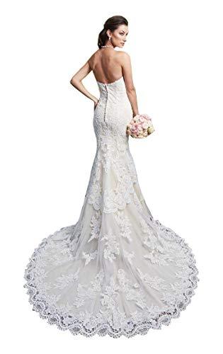 CGown Trägerloses Meerjungfrauenkleid mit Herzausschnitt, Brautkleid, Spitzenapplikation, Strandkleid, Brautkleid Gr. 42, elfenbeinfarben