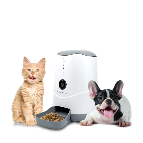 Smarthentic, Smart Pet Feeder, Automatic Cat Feeder, Programmable Portion with Built-in HD Camera, Automatic Dog Feeder, Connect to 2.4G WiFi APP Cloud Control by iOS and Android