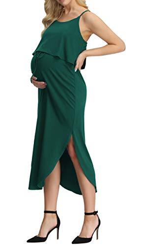 Women's Maternity Spaghetti Straps Side Split Casual Summer Beach Dress