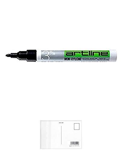 シャチハタ油性マーカー丸3(黒)K-70 【まとめ買い10個セット】 + 画材屋ドットコム ポストカードA
