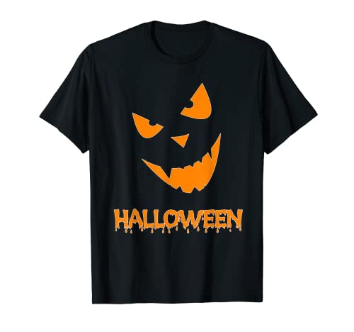 Ejecutar Halloween Calabaza cara Disfraz Halloween divertido hombres, nios Camiseta